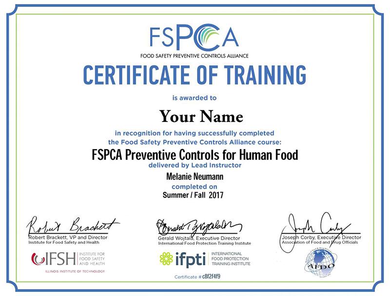 FSPCA Certificado
